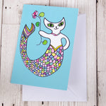 Mermaid Cat Greeting Card