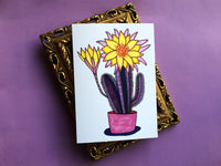 Purple Cactus Greeting Card