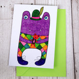 Purple Monster Greeting Card