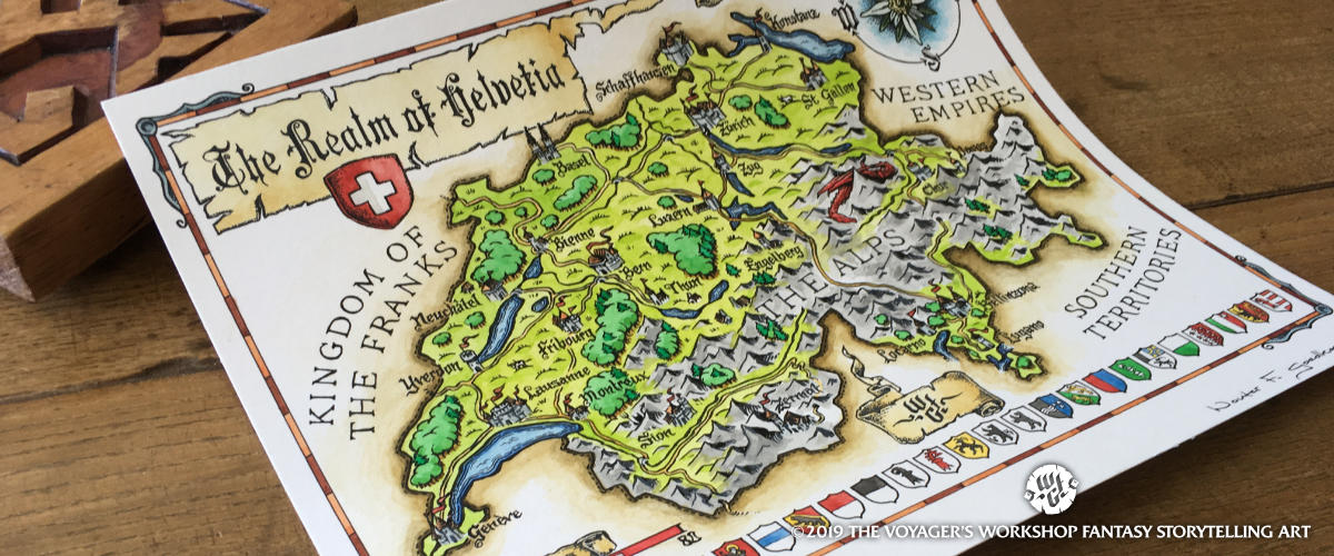 Fantasy Map of Switzerland by Wouter F. Goedkoop - ink and watercolour