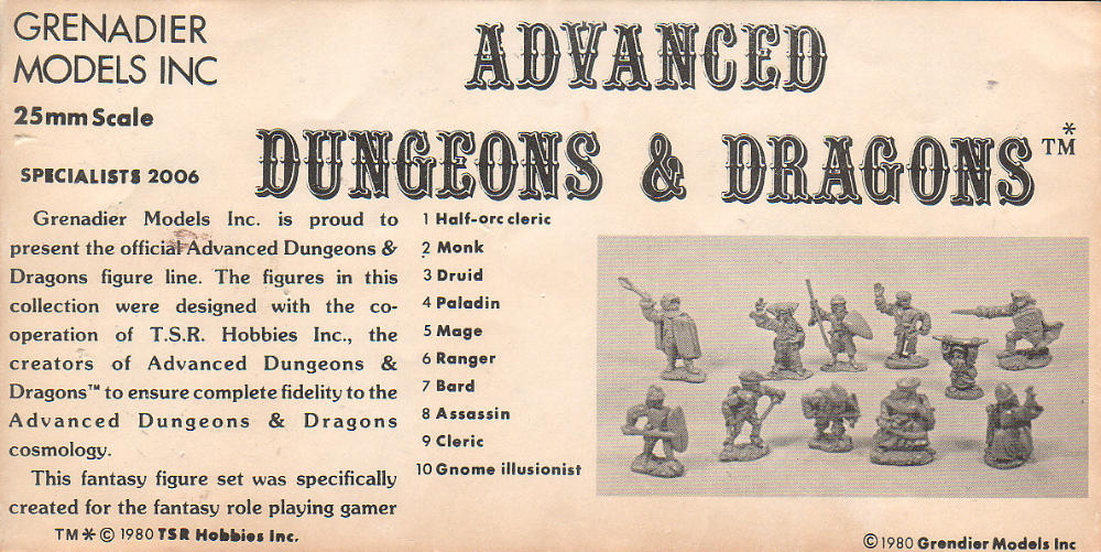 Grenadier AD&D Catalogue 1980