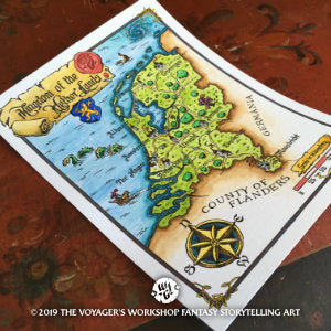 Fantasy Map of The Netherlands by Wouter F. Goedkoop - ink and watercolour