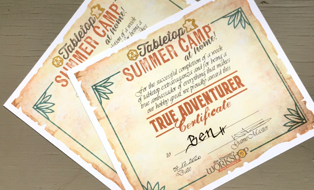 True Adventurer Certificates