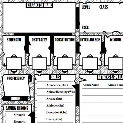 5th Edition Character Sheets