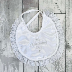 my christening day embroidered bib with lace