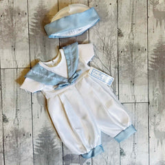 baby boy white christening romper blue sailor collar