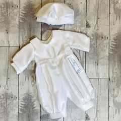 baby boy white satin christening outfit
