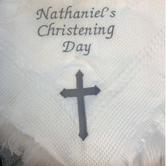 personalised christening day shawl with cross