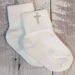 baby boy white christening socks with cross