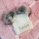 double fur pom bobble baby hat white personalised