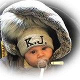 baby double pom bobble fur hat with monogram initials custom personalised