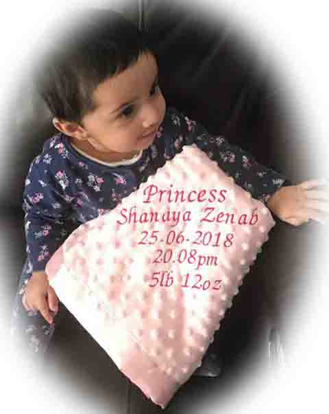 personalised baby gift blanket babies name birthday weight birth