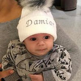 baby white personalised fur pom hat