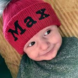 baby boy toddler personalised hat red fur pom