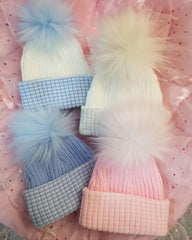 newborn fur baby pom bobble hats personalised