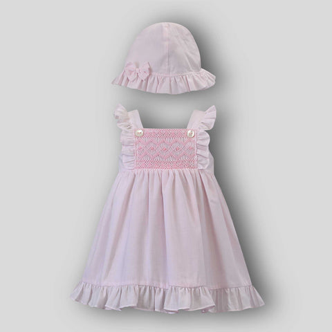 Baby Girl Pink Hand Smocked Sun Dress and Sun Hat Set- Sarah Louise 012288