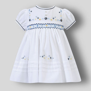sarah louise white dress with embroidery