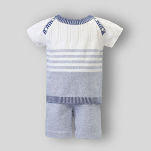 Baby Boy Knitted 2 piece Top and Shorts - Sarah Louise 012339