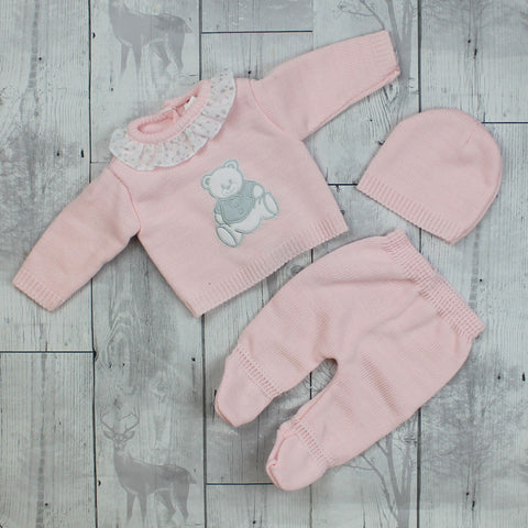 Baby Girl Knitted Outfit Pink Top, Trousers, Hat