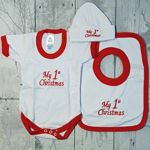 First Christmas Unisex Gift Set - Hat, bib and vest