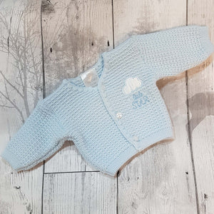 premature baby boy blue cardigan tiny baby
