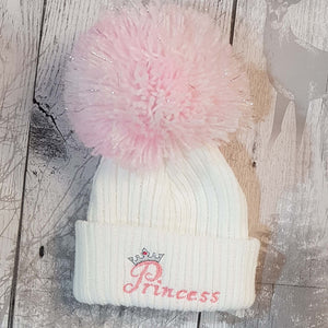 baby girl princess pom pom bobble hat newborn, 1 year, 2 year