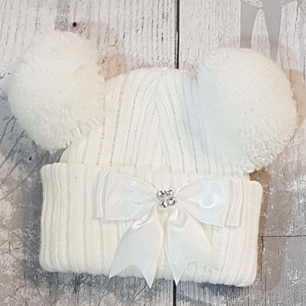 Baby girl double Pom hat white with bow and jewel ...
