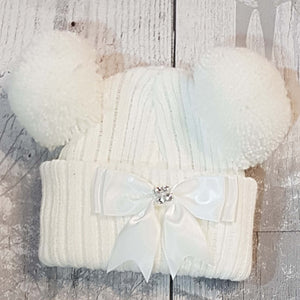 baby girl double pom bobble hat newborn ribbon bow