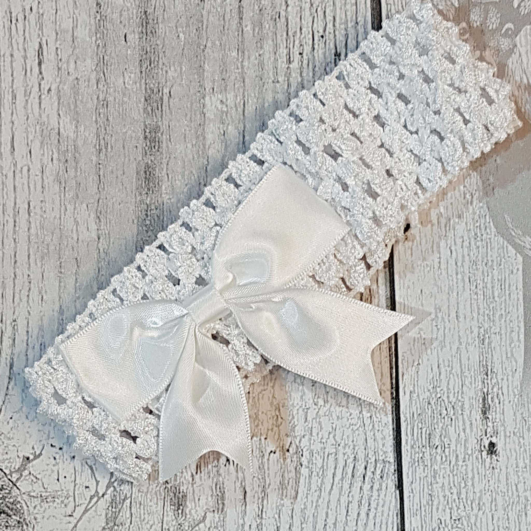 baby girl white crochet headband with white satin bow
