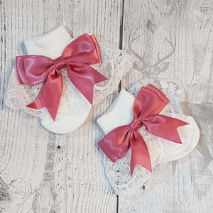 Baby Girl Fancy lace satin dusky pink bow white ankle socks.