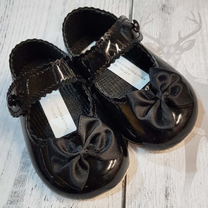 Baby Girl Black Pram Shoes