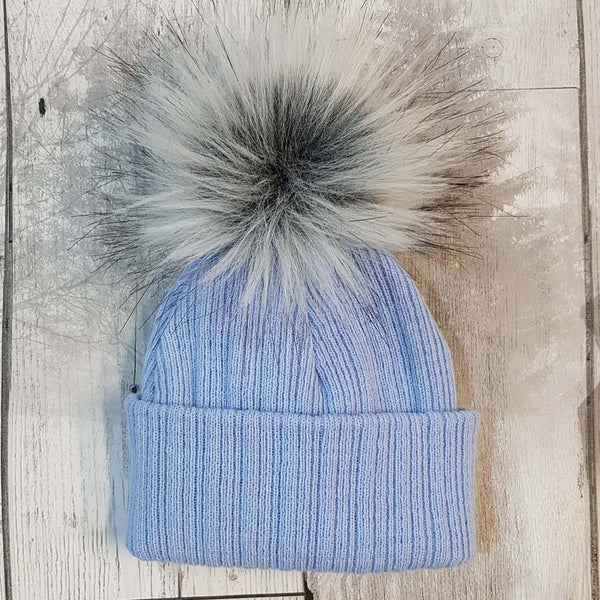 Personalised Baby Hat- Blue with fur pom