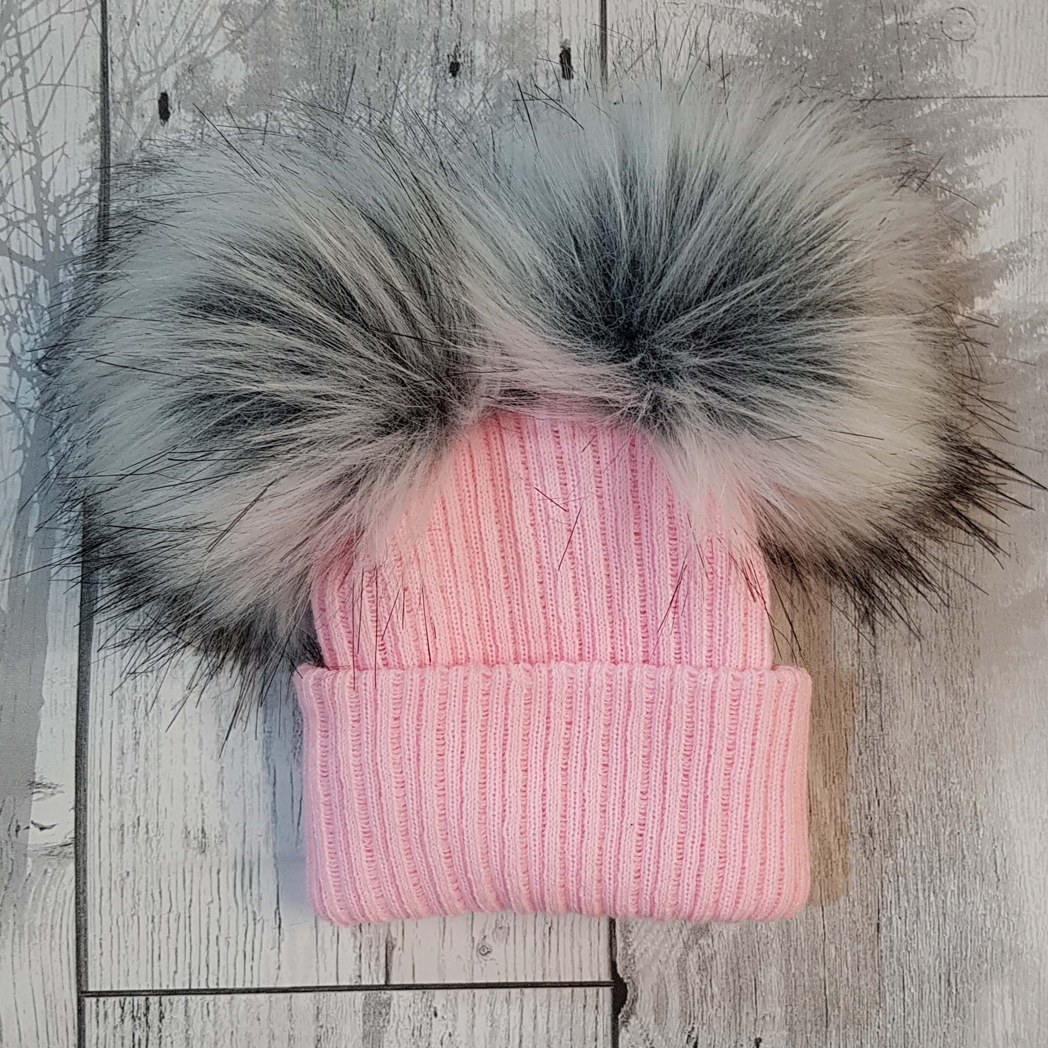 baby girl double bobble fur pom hat personalised