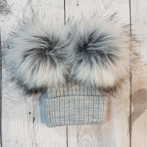 double pom fur bobble hat grey