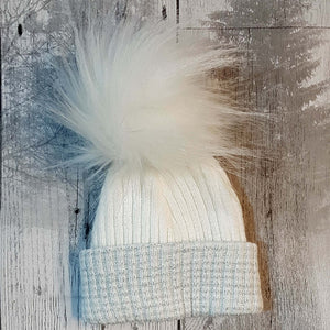 newborn faux fur pom bobble hat personalised
