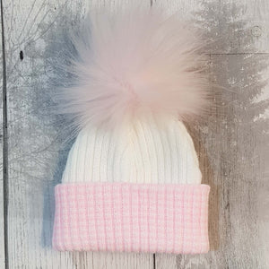 newborn fur bobble pom pom hat baby