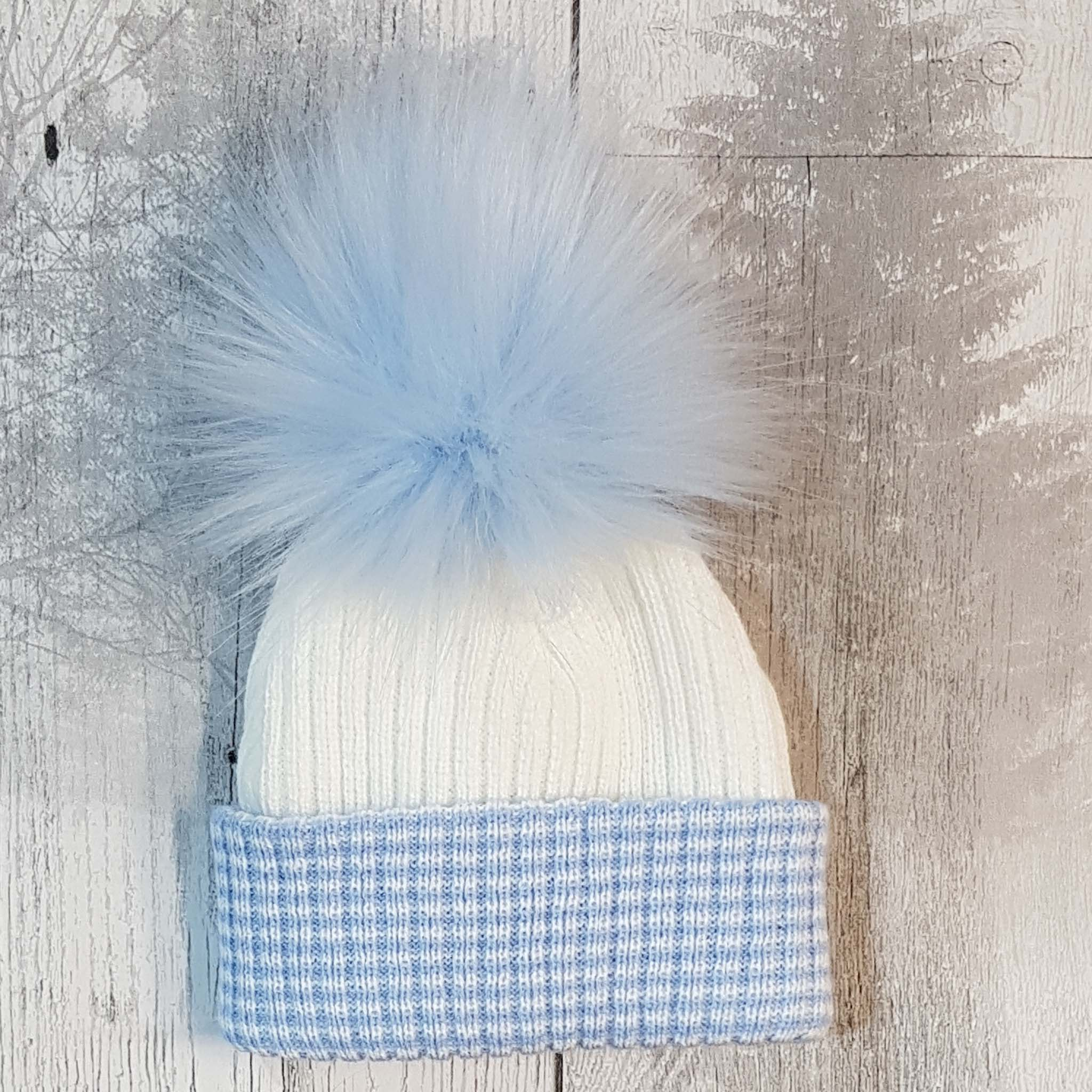 baby blue fur pom hat newborn bobble