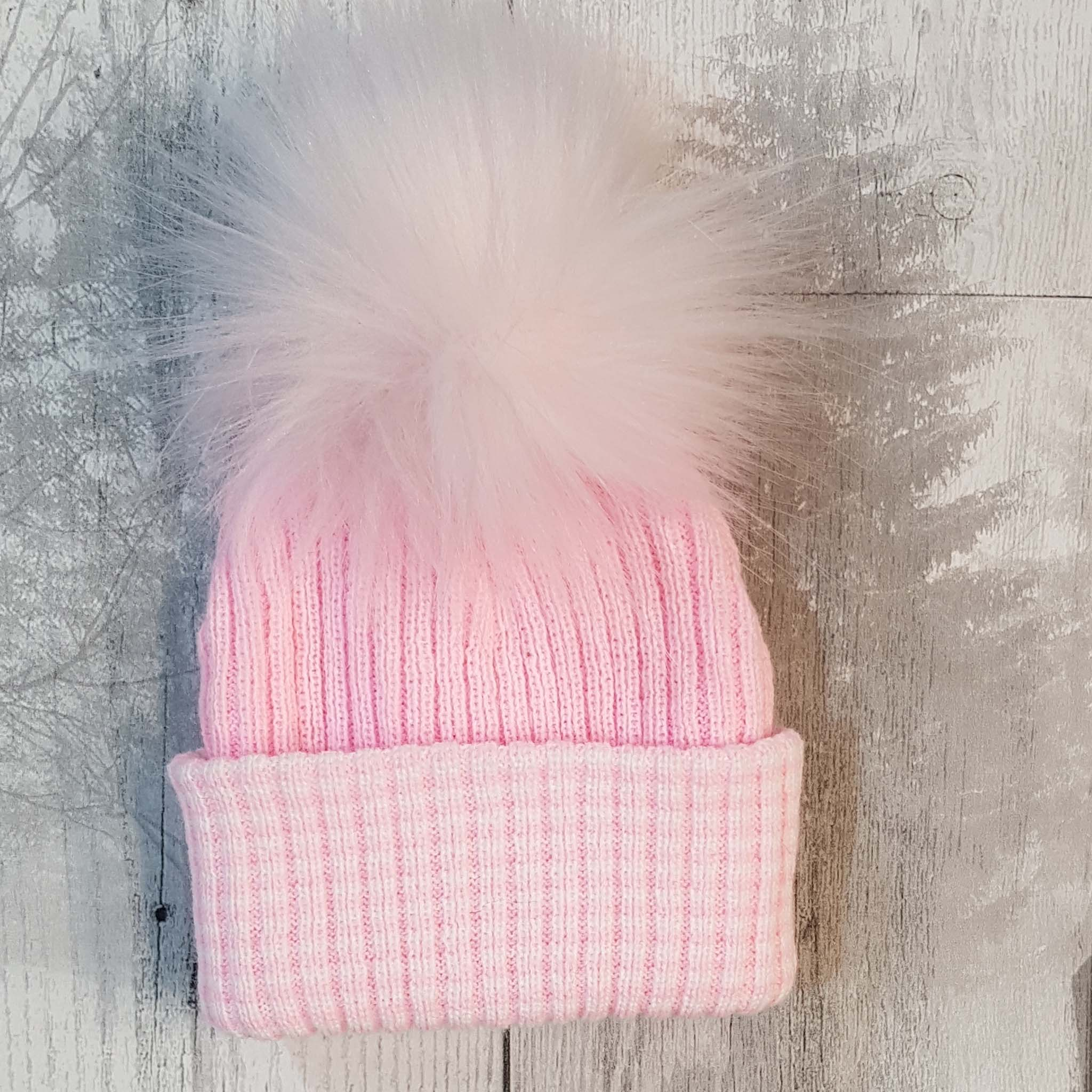 baby girl pom pom bobble hat pink fur personalised