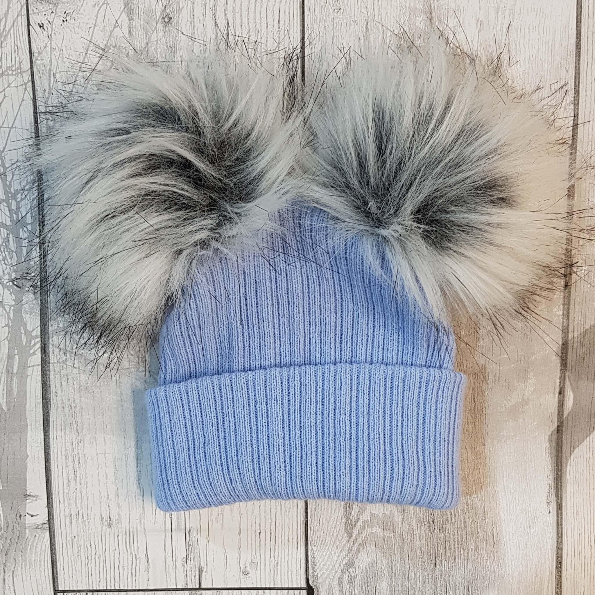 baby bobble pom pom hat double fur pom can be personalised