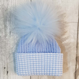 baby boy faux fur bobble pom pom newborn hat personalised