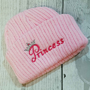 princess pink knit hat