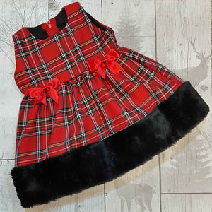 tartan baby dress with fur