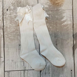 White Knee High socks with Satin Bow and Pom Pom
