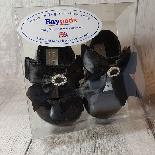 Baby Girl Black Pram Shoes - Large Satin Bow with Diamante
