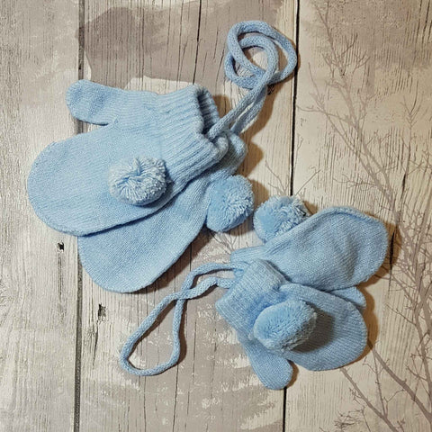 baby mittens gloves with string and pom poms blue