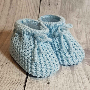Blue Knitted Booties Newborn to 6 months
