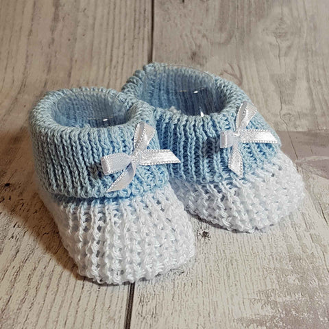 Baby boy white blue Knitted Booties Newborn to 6 months