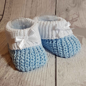 Baby boy blue white Knitted Booties Newborn to 6 months