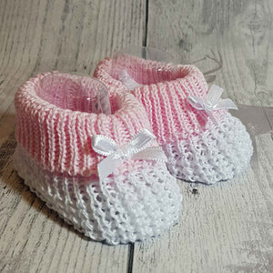 baby girl white pink booties
