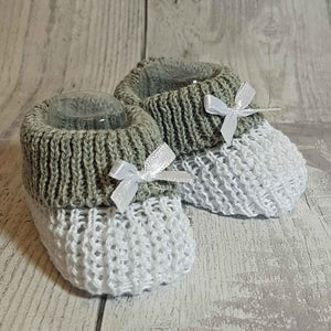 Unisex white grey Knitted Booties Newborn to 6 months